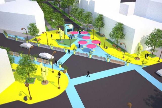 Ces maquettes de la future place publique ne... (Image fournie par EXMURO Arts publics)