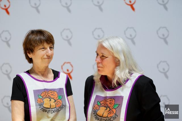 Françoise David et sa collègue la députée deSainte-Marie-Saint-JacquesManon... (Photo: Sarah Mongeau-Birkett, La Presse)