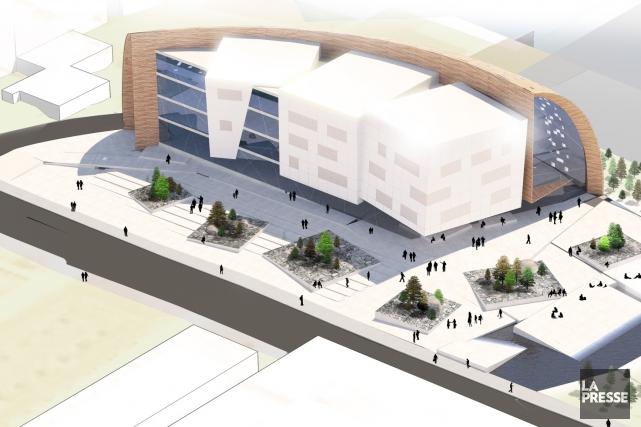 Une maquette provisoire du futur pavillon de l'Institut... (Université Laval)