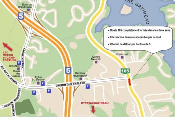 La route 105 est scindée en deux, le temps que se déroulent les travaux de...