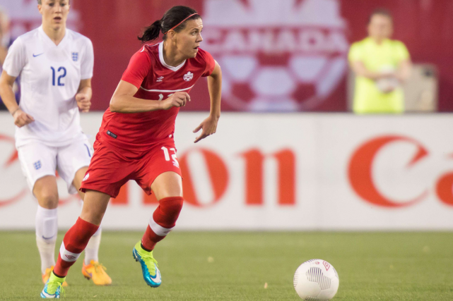 Christine Sinclair et les Canadiennes vont amorcer la Coupe... (Photo Geoff Robins, archives AFP)