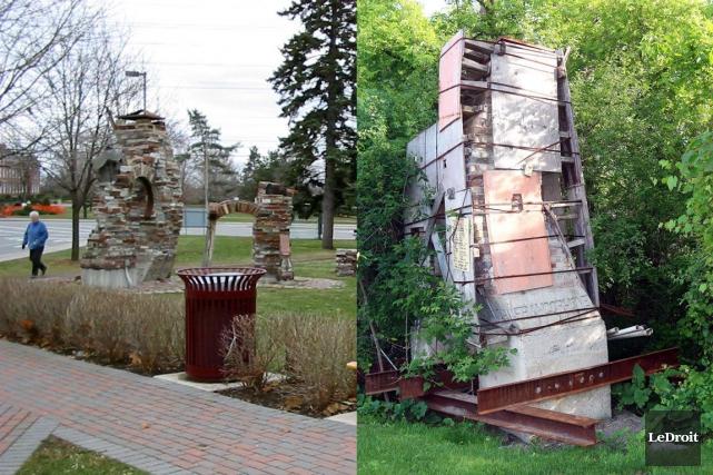 La sculpture d'Yves Leduc. À gauche, à l'époque... (Photos LeDroit)