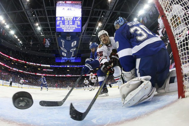 Ben Bishop a quitté le match no 2... (Photo Bruce Bennett, AP)