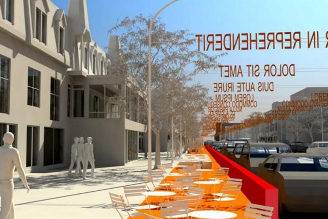 La « grande terrasse rouge » sera érigée... (IMAGE FOURNIE PAR LA VILLE DE MONTRÉAL)
