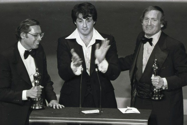 Irwin Winkler, Sylvester Stallone et Robert Chartoff.... (PHOTO ARCHIVES ASSOCIATED PRESS)