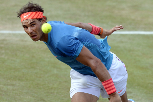 Rafael Nadal disputait son premier match en simple depuis... (Photo Thomas Kienzle, AFP)