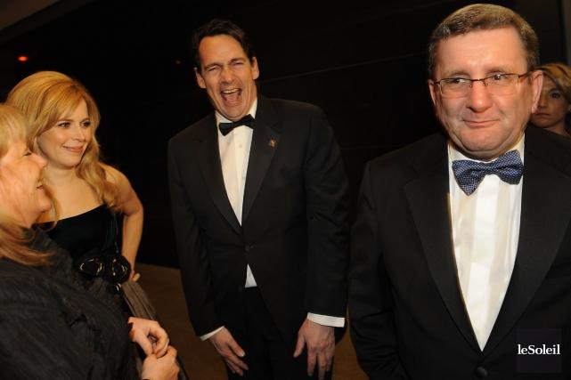 Julie Snyder, Pierre-Karl Péladeau et Régis Labeaume au... (Photothèque Le Soleil, Patrice Laroche)