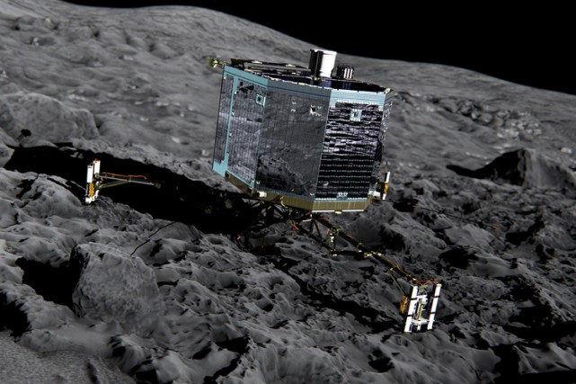 Le robot Philae.... (Illustration fournie par l'agence spatiale européenne)