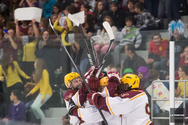 À sa deuxième année d'existence, le programme Hockey à l'école chapeauté par... (Archives La Tribune, Jessica Garneau)