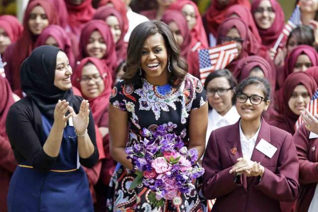 «Je suis ici pour vous», a déclaré MmeObama... (PHOTO MATT DUNHAM, AP)