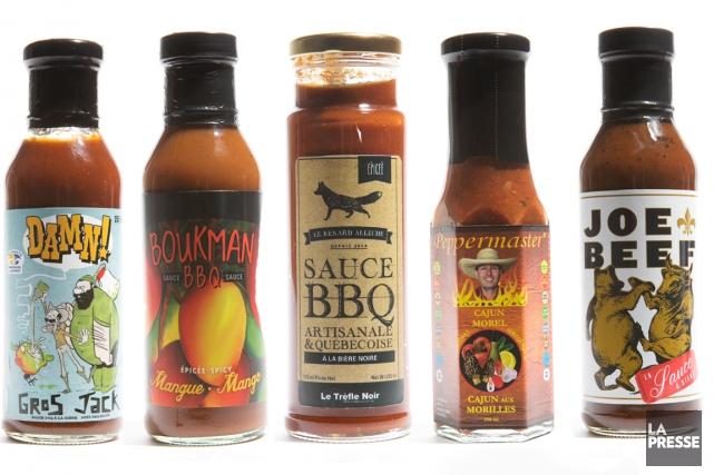 Nous avons déniché cinq sauces barbecue québécoises pour rehausser vos... (PHOTOS OLIVIER JEAN, LA PRESSE. PHOTOMONTAGE LA PRESSE)