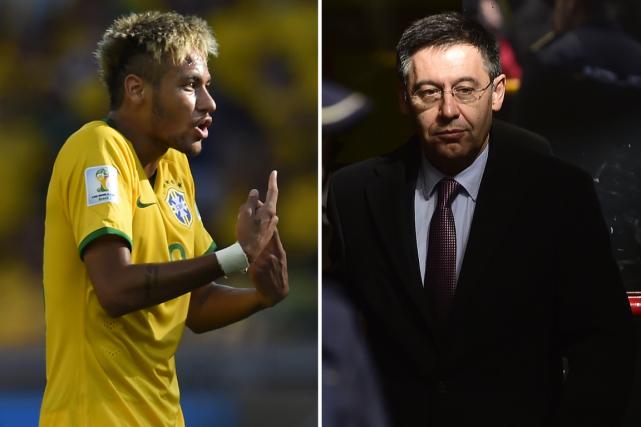 Neymar et leprésident du FC Barcelone, Josep Maria... (Photos archives AFP)
