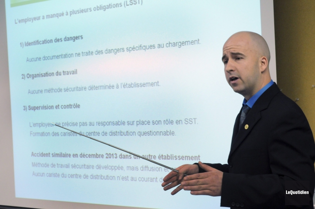 L'inspecteur chimiste Dave Létourneau a présenté son rapport... ((Photo Le Quotidien, Michel Tremblay))