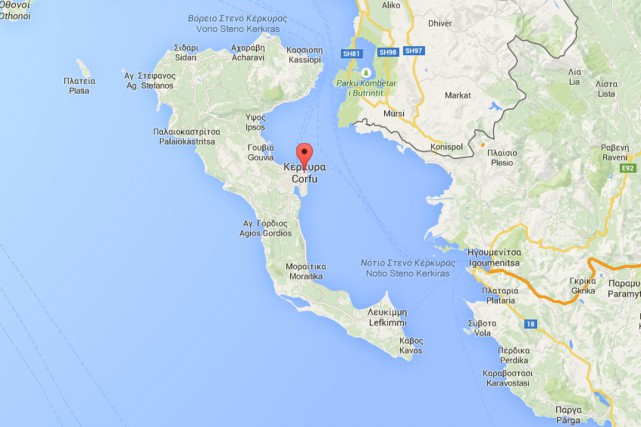 L'île de Corfou, en Grèce.... (IMAGE GOOGLE MAPS)