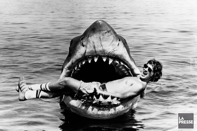 Une photographie croquée lors du tournage de Jaws.... (PHOTO ARCHIVES)
