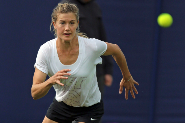 Eugenie Bouchard à l'entraînement lundi en vue du... (Photo Gareth Fuller, AP)