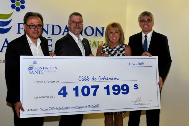La Fondation Santé Gatineau a remis un montant record de 4,1 millions $ au CSSS... (Courtoisie)