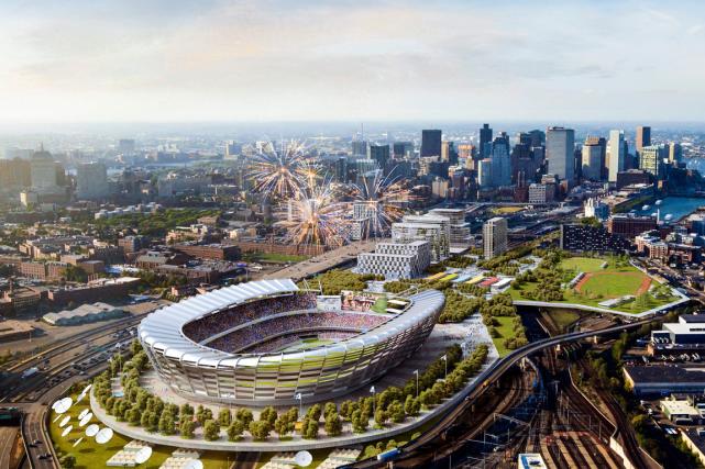 Un plan du stade olympique que voudrait construire... (Photo AP)