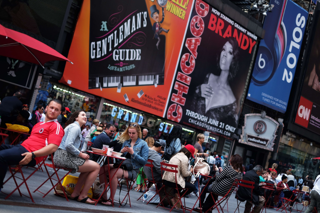 Times Square, à New York.... (PHOTO AFP)