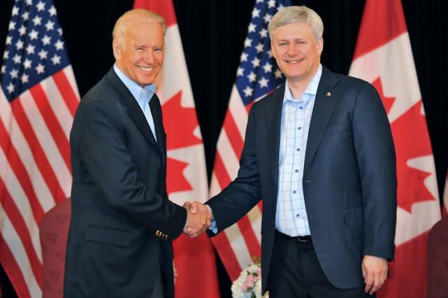 Joe Biden a rencontré Stephen Harper dimanche à... (PHOTO PC)