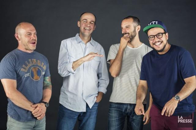 Les humoristes Maxim Martin, Guy Nantel, Guillaume Wagner... (PHOTO ÉDOUARD PLANTE-FRÉCHETTE, LA PRESSE)