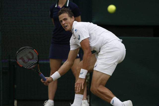 Éliminé par Andy Murray, Vasek Pospisil quitte Wimbledon.... (Associated Press)