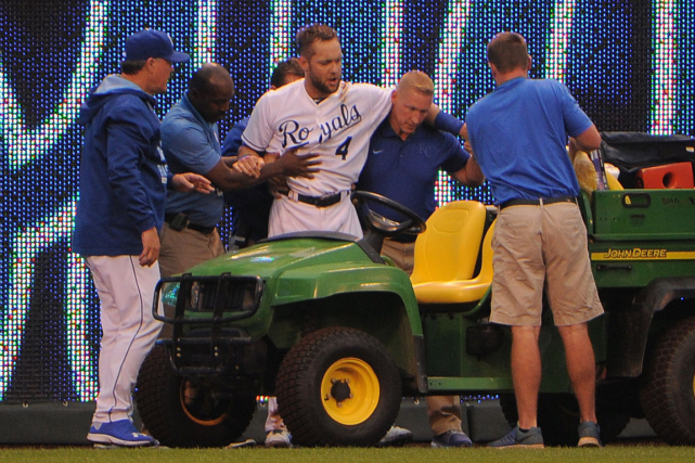 Alex Gordon a subi une sévère blessure à... (Photo John Rieger, USA Today)