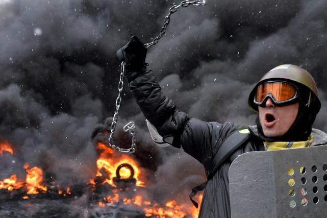 La place de l'Indépendance, à Kiev, fut le... (ARCHIVES AFP)