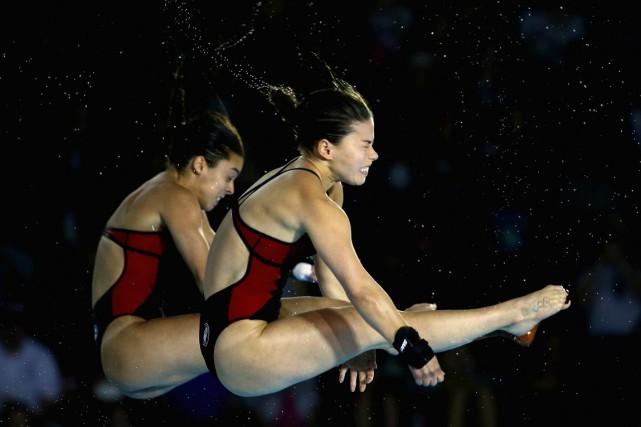 Roseline Filion et Meaghan Benfeito sont montées sur... (Agence France-Presse)