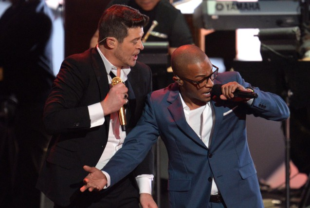 Robin Thicke et Pharrell Williams... (PHOTO ARCHIVES AFP)