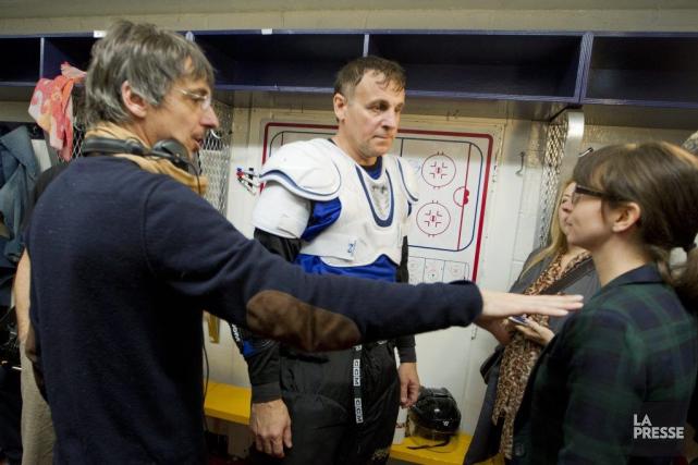 Philippe Falardeau en compagnie des acteurs Patrick Huard... (Photo: Ivanoh Demers, La Presse)