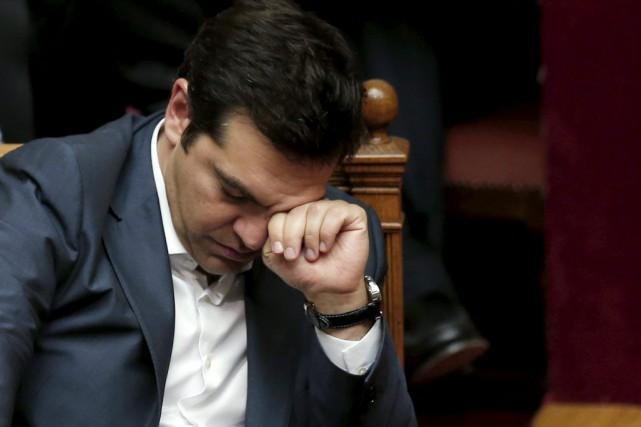 Le premier ministre grec Alexis Tsipras, au Parlement,... (Photo ALKIS KONSTANTINIDIS, Reuters)