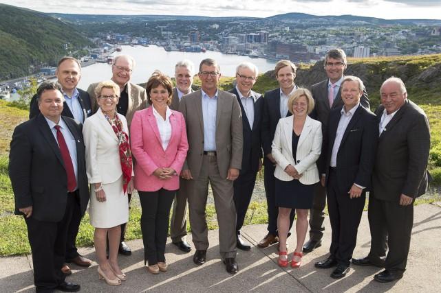 Les premiers ministres provinciaux réunis à St. John's,... (Photo Andrew Vaughan, PC)