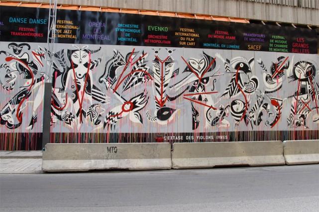 L'extase des violons ivres, murale de Carlito Dalceggio,... (PHOTO ISABELLE DUGUAY, FOURNIE PAR LA PLACE DES ARTS)