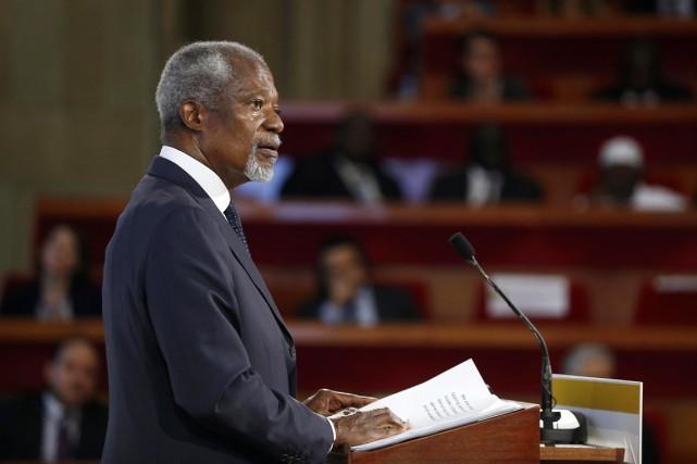 L'ex-secrétaire général des Nations unies Kofi Annan participe... (PHOTO ÉTIENNE LAURENT, REUTERS)