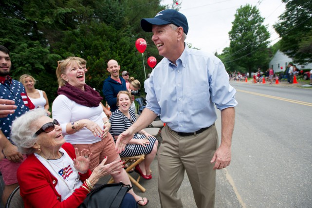 Lindsey Graham à Amherst au New Hampshire, durant... (PHOTO GRTECHEN ERTL, ARCHIVES REUTERS)