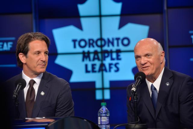 Le président des Maple Leafs, Brendan Shanahan, et... (Photo Galit Rodan, PC)