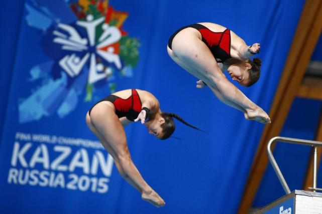 Meaghan Benfeito et Roseline Filion ontoccupé le deuxième... (PHOTO SERGEI GRITS, AP)