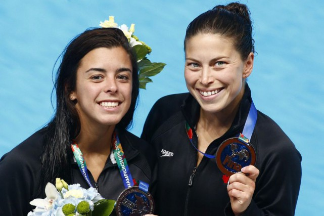 Meaghan Benfeito et Roseline Filion.... (Associated Press)