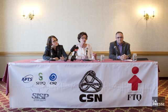Le front commun: Francine Lévesque, vice-présidente de la... (PHOTO ROBERT SKINNER, ARCHIVES LA PRESSE)