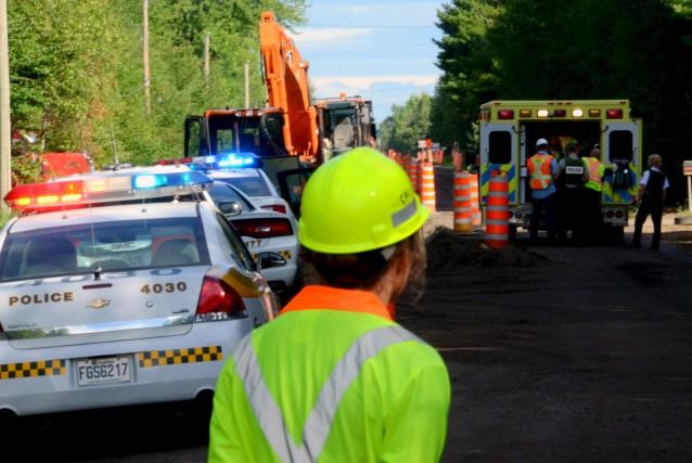 Le travailleur grièvement blessé sur un chantier routier la semaine dernière... (Photo collaboration spéciale Éric Beaupré)