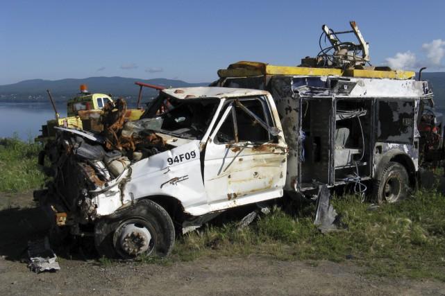 La camionnette repêchée est de retour sur la... (Collaboration spéciale, Geneviève Gélinas)