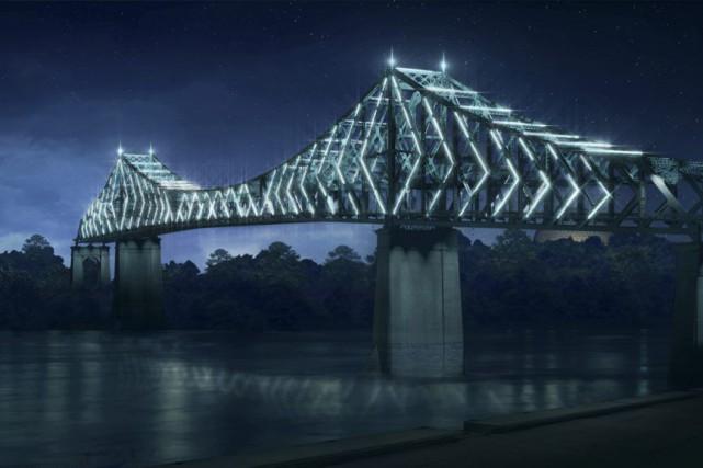 Le projet d'illumination du pont Jacques-Cartier, par Moment... (IMAGE FOURNIE PAR MOMENT FACTORY)