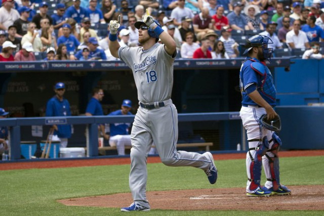 Ben Zobrist célèbre après avoir touché le marbre.... (PHOTO NICK TURCHIARO, USA TODAY)