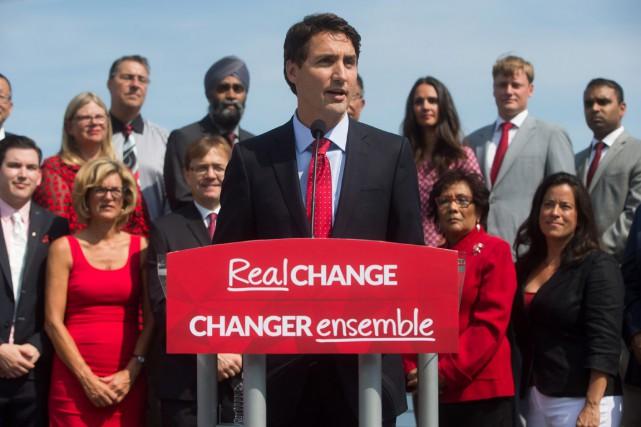 Le chef des libéraux Justin Trudeau s'est exprimé... (Photo Darryl Dyck, PC)