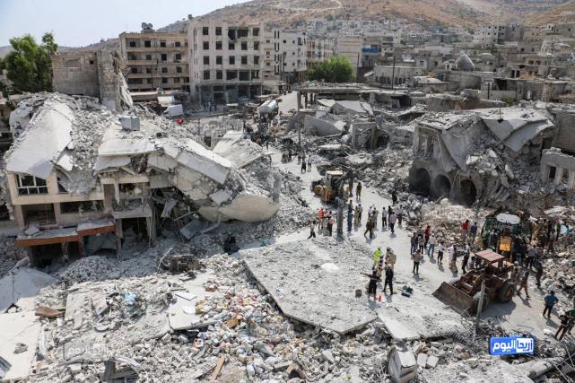 Selon les habitants cités par l'OSDH, l'écrasement de... (PHOTO ARIHA TODAY VIA AP)