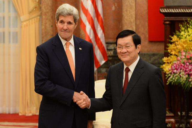 Le secrétaire d'État américain John Kerry arencontré le... (Photo Hoang Dinh Nam, AFP)