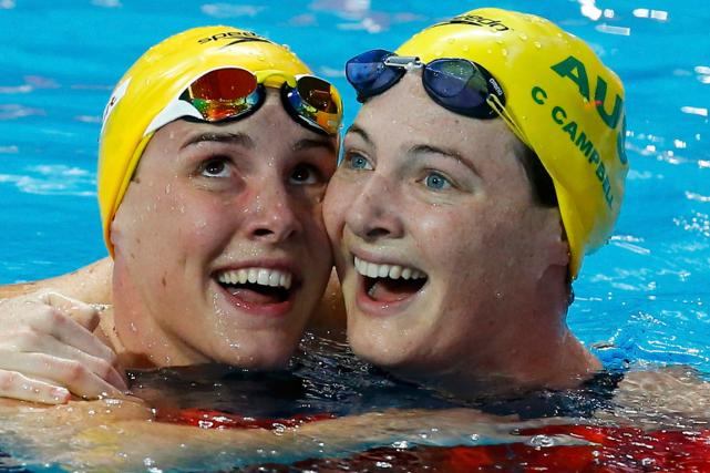 L'Australienne Bronte Campbell (à gauche), gagnante du 100... (Photo Michael Dalder, Reuters)