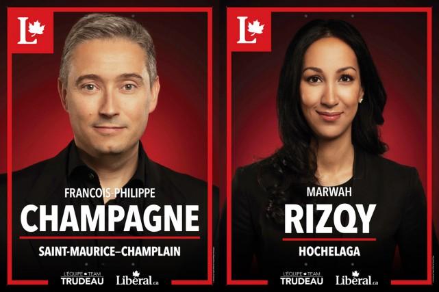 Deux pancartes de candidats du Parti libéral du... (Photomontage Lapresse.ca)