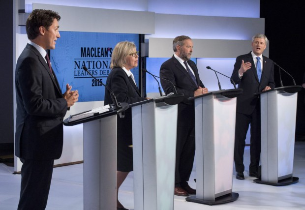 Justin Trudeau, Elizabeth May, Thomas Mulcair et Stephen...